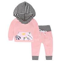 criança, menina, jogo, leggings, listra venda por atacado-Outono 2018 Crianças Bebés Meninas top rosa com tarja com capuz + calças de flores Leggings 2 pcs. Conjunto de Vestuário para Vestuário de Meninas