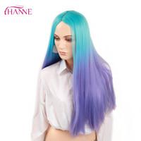 perruque mélange bleu violet achat en gros de-HANNE Ombre Perruque Bleu à violet 28 pouces Résistant À La Chaleur Synthétique Cheveux Longs Raides Perruques Pour Les Femmes Noires Fête Ou Cosplay