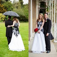 Wholesale Cheap Victorian Dresses - Victorian Gothic Wedding Dresses 2018 Vintage Cheap Bridal Gowns Black Lace and White Chiffon Garden Brides Dress Sweetheart Lace-up Back