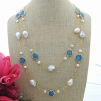 Wholesale mineral necklaces for sale - Group buy N060101 quot MM White Keshi Pearl Blue Mineral Druzy Necklace