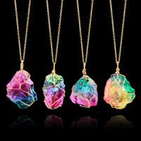 piedra de cuarzo piedra al por mayor-Collar Rainbow Stone Natural Crystal Rock Necklace Oro Cuarzo Colgante Jewelry Necklace