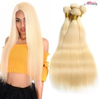 sarışın saç telleri toptan satış-8A Brezilyalı Düz Saç Örgü 3 Demetleri Sarışın Tam 613 Renk 100% İnsan Saç Paketler Brezilyalı Bakire Düz Remy Saç Uzantıları