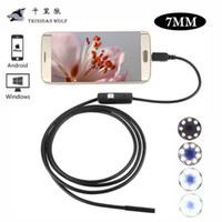 Wholesale Borescope Android - TRINIDAD WOLF 7MM 6 LED Lens USB PC Android Endoscope Waterproof Endoscopy Inspection Borescope Camera with 1m 1.5m 2m 3.5m 5m