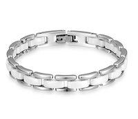 braceletes de cerâmica de zircônia venda por atacado-Marca de luxo jóias cadeia de cerâmica Pulseiras de amor pulseiras balck e branco para homens mulher 19 cm aço inoxidável bijoux ouro / rosa / prata cor