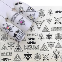 autocollants moustache achat en gros de-1 Feuille Beard Moustache Eau Stickers Transfert Nail Art Décorations Ultrasons Adhésif 3D Nail Stickers 53 * 61mm 3Styles