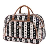 кожаные кубики оптовых-Дорожные сумки женщины водонепроницаемый мода камера упаковка кубики сумка PU складной Weekender кожа дорожная сумка X046 48% OFF