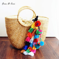 Wholesale tassel braiding - beach bag straw totes bag bucket summer bags with tassels women handbag braided 2017 new high quality tassel Rattan
