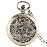 dragão phoenix presentes venda por atacado-Retro oco Dragon Phoenix Design de Moda Homens Mulheres Relógio de bolso Metade com cadeia de frio reloj Relógio presente das crianças