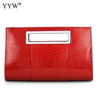 rote patentabendtasche großhandel-Korean Patent Alligator Pu-leder Handtasche Frauen Platz Schulter Handtasche Kleine Tasche Dame Abend Red Bolsa Feminina