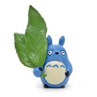 brinquedos de grande figura venda por atacado-Meu Vizinho Totoro bonito Brinquedos azul Totoro acenada folhas verdes grandes Resina Figuras de Ação Coleção Modelo Brinquedos