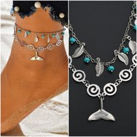ingrosso pendenti boho-Boho Leaf Mermaid Tail Flower Multilayer Bracciale alla caviglia Vintage Round Pendant Beach Foot Jewelry Catena a gamba per le donne Charm Beach Accessories