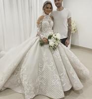 vestido de casamento de luxo de colarinho alto frisado venda por atacado-Luxo Lace vestido de baile vestidos de casamento mangas compridas Colarinho alto frisada vestidos de noiva Appliqued Catedral Sequined Tulle Vestidos De Novia