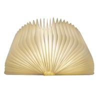 lámpara de escritorio led blanco cálido al por mayor-USB recargable con forma de libro de madera plegable Lámpara de escritorio Lámpara de luz nocturna Luz del libro para la decoración del hogar Luz blanca cálida Envío de la gota