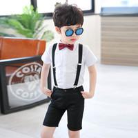 свадебный костюм мальчиков 2t оптовых-Мода мальчики джентльмен рубашка подтяжки брюки формальные костюмы 2 шт. одежда набор Дети 2 Т-6 т мальчики свадебные костюмы наборы костюм
