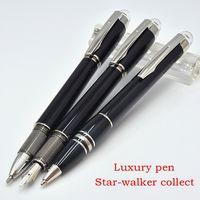 canetas de cristal branco venda por atacado-Luxo caneta MT black resina MB-sw Roller esferográfica caneta canetas com cristal estrela branca Top e número de série