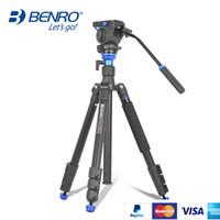 Wholesale benro camera resale online - BENRO Tripod Kit Aero A1883fS2c Professional Aluminum Tripod For Video Camera D Fluid Head Videotape Dual use