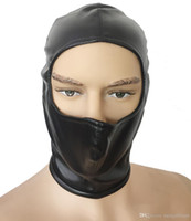 Wholesale half mask sex for sale - Kinky Head Bondage Half Face Open Gimp Hood Soft Leather Back Zip Mask Fetish Head Harness Cosplay Costume sex toys