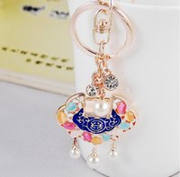 Wholesale auto car ms online - Ornament accessories ms ChangMingSuo riches and honour peace Korean auto lock key chain pendant creative gift