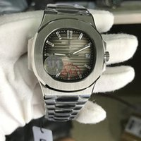 Wholesale crystal other for sale - Group buy 2019 New U1 Factory Automatic Movement Engraved Mens Watch Nautilus PP Stainless Steel Transparent Back Gray Crystal Dial Men Watches
