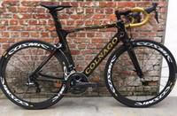 bicicletas de carretera grupo ultegra al por mayor-Concepto de Colnago de oro Bicicleta de bicicleta de carretera de carbono con Ultegra R8000 Groupset para la venta Juego de ruedas de carbono de 50 mm