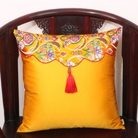 Wholesale dark purple decorative pillows resale online - Patchwork Tassel Wedding Christmas Decorative Cushion Covers for Sofa Chair Cushion Case Office Home Lumbar Pillow Chinese Silk Pillow Case