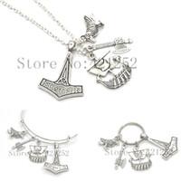 12pcs lot Viking necklace History Geek Ship Thor's Hammer Tho Gift For Him Nerd necklace bracelet keyring