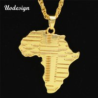 Wholesale cross maps - Uodesign Brand Hiphop Africa Necklace Gold Color Pendant & Chain African Map Gift for Men Women Ethiopian Jewelry Trendy