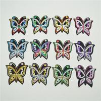ingrosso farfalla a motivi di ferro-36 Mixe 12 colori farfalla patch patch paillettes ferro su applique cucire motivo distintivo hot fix
