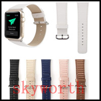 Wholesale fiber adapters for sale - Group buy For Apple Watch Strap Bands Genuine Real Leather Carbon Fiber Straps Band mm Bracelets With Adapter