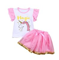 Wholesale unisex baby clothing online - ins Baby Girls unicorn Outfit Clothes Unicorn Ruffles Top T shirt Lace child shirt tutu skirt suit Outfit Tutu Skirt Dress KKA4415