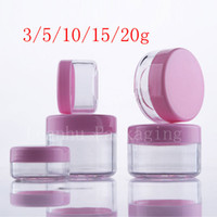 Wholesale pink plastic cosmetic jars wholesale - 3g 5g 10g 15g 20g Empty Pink Small Plastic Display Jar Pot Cosmetic Cream Tin Balm Container Mini Sample Container Packaging