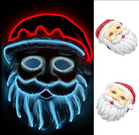 Wholesale santa women costume online - Christamas Santa Claus LED Mask EL Wire Light Up For Festival Cosplay Costume Party Masks OOA5639