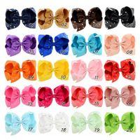 bebek kız ördek karikatür toptan satış-5.5 Inç 20 Renkler Ile Bebek Kız Karikatür Şeker Renk Firkete Rhinestone Grogren Hairbow Ilmek Saç Klip Ördek Klip Çocuklar Tokalarım H09