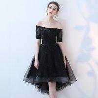 черное платье асимметричный тюль оптовых-Элегантный черный тюль платье невесты лодка шеи с плеча с аппликациями из бисера асимметричные короткие рукава Пром платье Onepiece