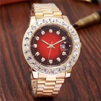 marca relógios diamantes venda por atacado-Relogio Homens De Luxo De Ouro Automático Congelado Para Fora Assista Mens Relógio de Marca Daydate Presidente Relógio De Pulso Vermelho Negócios Reloj Grande Diamante Relógios Homens