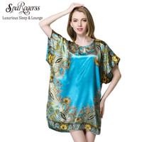 Wholesale Ladies Plus Size Pyjamas - SpaRogerss Women Sleep Lounge Pyjamas 2017 Summer Plus Size Ladies Nightgowns Faux Silk SleepShirts Female Dressing Gown YT08