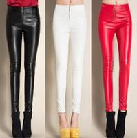 leggings negros blancos rojos al por mayor-# 0521 2017 Winter Black / White / Red Leggings de lana Pantalones de cuero sintético Skinny Pencil pants Casual Con cremallera Pantalones de mujer