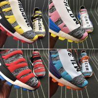 açık paten ayakkabıları toptan satış-2018 Yeni PW HU Holi MC Insan Yarışı Koşu Ayakkabıları Pharrell Williams Moda Atletik Spor Sneakers Açık Eğitmenler Paten Patikaları