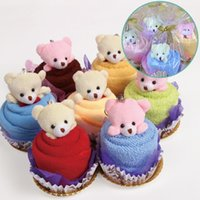 Wholesale cake gifts for wedding for sale - With Bear Cake Loop Towel Square Soft Comfortable Washcloth For Wedding Birthday Party Gift Towels New Arrival mx B