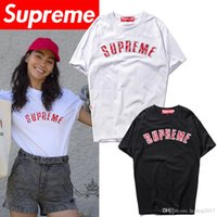 Wholesale Letter Couple Shirts - 18ss American street tide brand joint three-dimensional embroidery letters printed round neck supremen women couple short-sleeved T-shirt