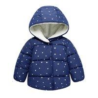 с капюшоном зимние мальчики шерсть оптовых-Мода дети зимняя куртка мальчик и девочка одежда зимнее пальто дети теплый толстый меховой воротник с капюшоном вниз пальто для 12M-4year