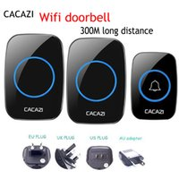 Wholesale remote uk plug for sale - 1pcs CACAZI Wireless Doorbell Waterproof IP44 M long Remote EU AU UK US Plug smart home Door Bell chimes for home use