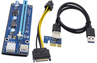 Wholesale graphics card free - Free DHL For Bitcoin Miner Riser PCI-E PCI-E Express 1X to 16X Graphics Card Riser USB 3.0 SATA to 6Pin Power Supply 60cm Latest OTH267