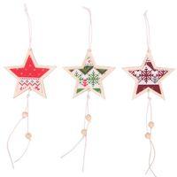 pendurado estrela decoração de natal venda por atacado-Criativo de madeira de natal estrelas pingentes pendurado decoração de natal artesanato presentes presentes fontes do partido decoração da árvore de natal
