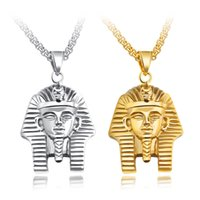 Wholesale pharaoh necklaces resale online - Egyptian Pharaoh Pendant Necklace For Men Gold Color Stainless Steel Personalized Male Sphinx Jewelry Gift