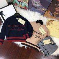 ropa de punto al por mayor-Baby Boy Clothes Pullover Hoodies Sweater Autumn Children's Garment Bark Team bordado puro algodón manga larga tejer