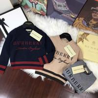 oğlan pamuklu hoodie toptan satış-Erkek bebek Giysileri Kazak Hoodies Kazak Sonbahar çocuk Konfeksiyon Bark Takım Işlemeli Saf Pamuk Uzun Kollu Örgü