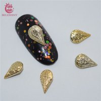 Wholesale Drill Nail Gold - 80pcs lot 3D Nails Art Decorations Gel with Gold Foil Studs Resin Drill DIY Sapphire Accessories for Nails Design SZ036