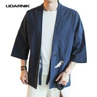Wholesale Japanese Fashion Coats - Embroidery Men Japanese Yukata Coat Jacket Kimono Outwear Cotton Vintage Retro Loose Top Fashion Black Red Navy New 904-832