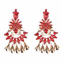 ingrosso gioielli di costume della boemia-5 colori Bohemian Chandelier Shape Ciondola gli orecchini di dichiarazione con Rhinestone di cristallo per le donne Ragazze gioielli novità